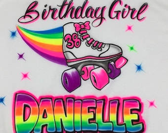 72a9ff97fe5 Airbrush Birthday Girl White Skate T Shirt Personalized with Rainbow Name &  Age Airbrushed T-Shirt