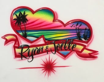 16eed41c Airbrush Couples Beach T-Shirt Personalized with Names Airbrush Red Ocean  Heart T Shirts