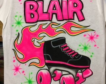 Airbrushed Roller Skate Personalized With Name T Shirt Free Shipping Airbrush