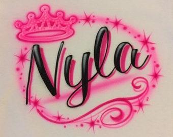 df046d76478 Airbrush Princess Tiara Shirt Personalize with Pink Name T-Shirt Hip Hop  80s 90s Airbrushed T Shirt