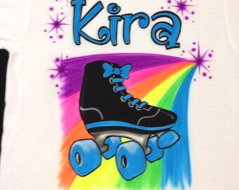 5ce242a78ca Airbrush Roller Skate Shirts Personalized with Name T-Shirt size S M L XL  2XL Custom Airbrushed T Shirt