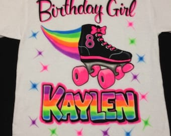 6fa3ffdce63b Airbrush Birthday Girl Skate T Shirt Personalized with Rainbow Name   Age Airbrushed  T-Shirt