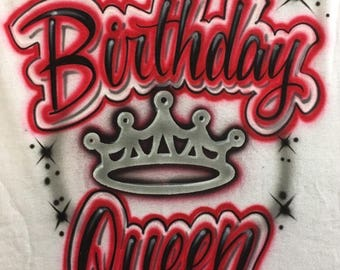 Airbrush Shirt Hip Hop 80s 90s Birthday Queen Retro Party Airbrushed T