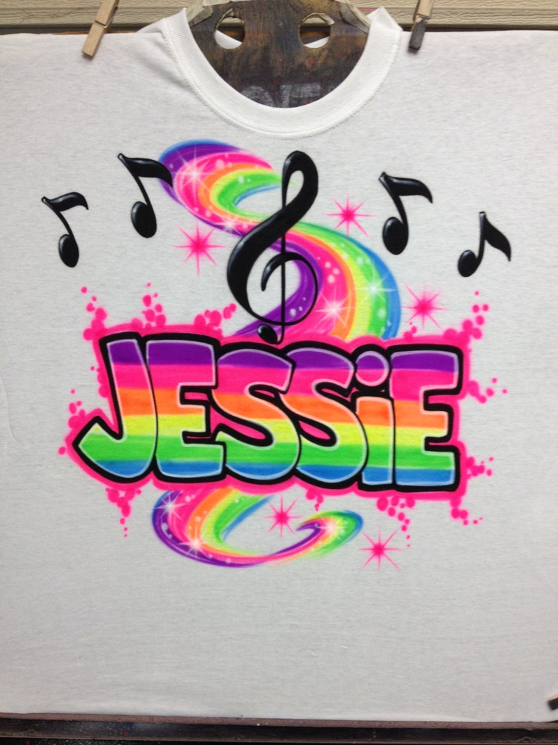 b80f8402 Airbrush Custom Name T-Shirt with Music Notes T-Shirt size S M | Etsy