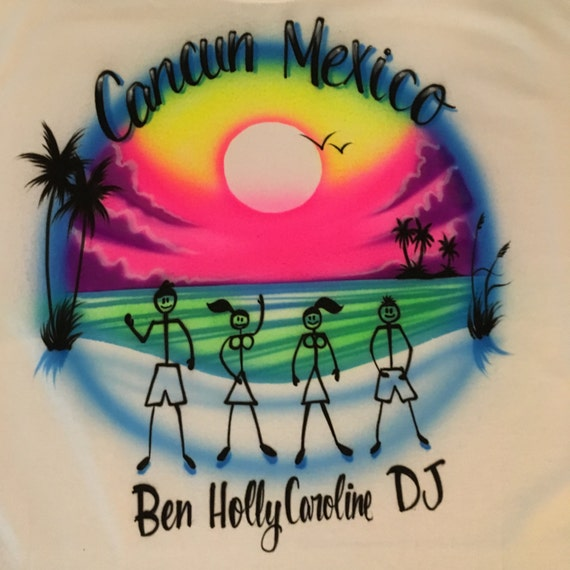 Airbrush Beach Stick People Personalized with Name Shirt Airbrushed  Vacation Retro 80s 90s T-Shirt