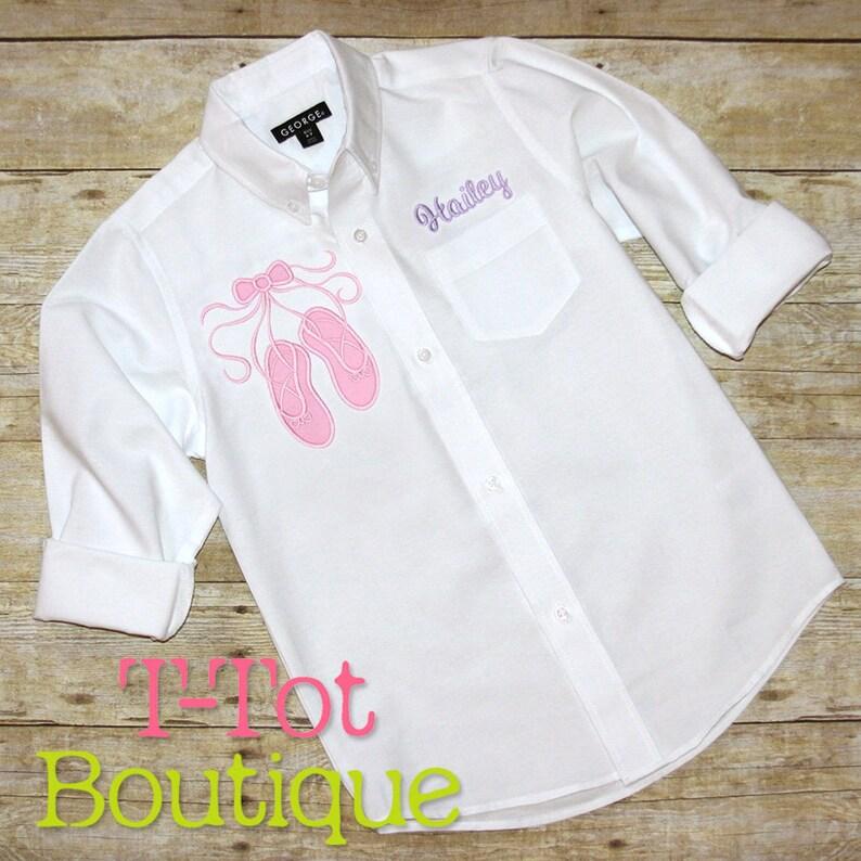 9ca55ca416 Dance Recital Cover Up Oversized Monogram Button Up Shirt   Etsy