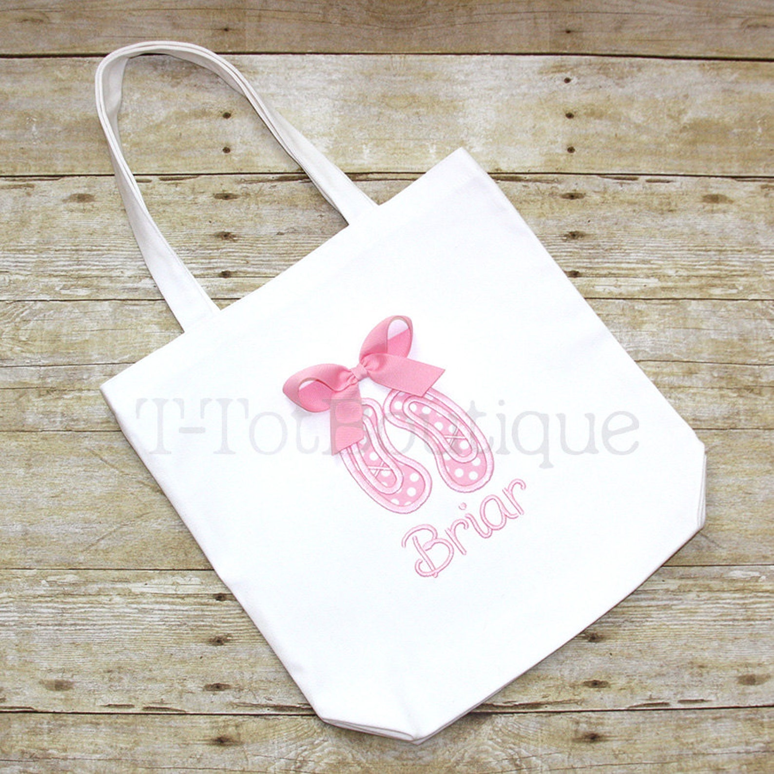 ballet shoes embroidered tote bag with real 3d bow - first day of dance class or dance recital - free personalization