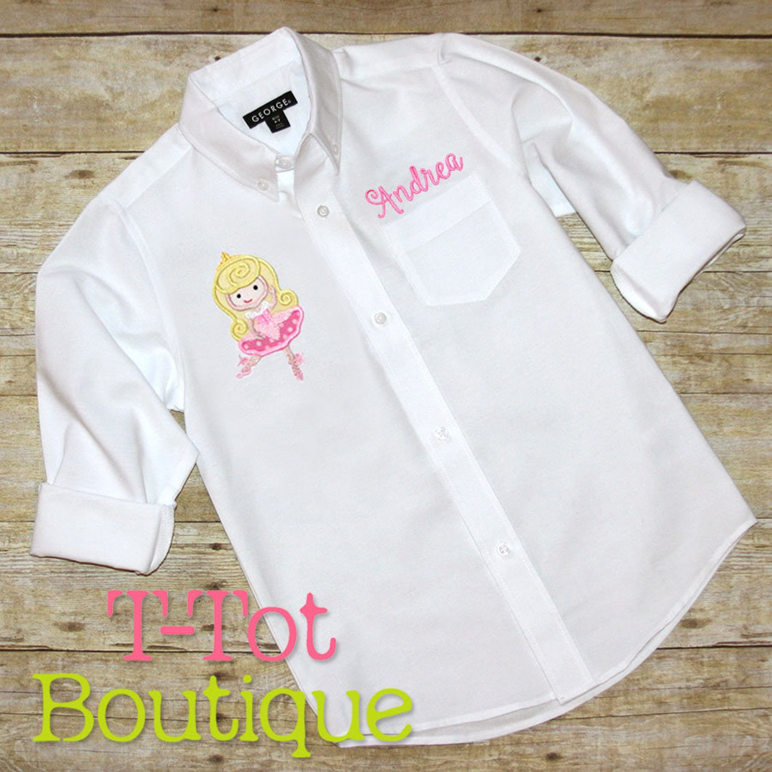pick your princess dance recital cover up oversized monogram button up shirt - dance revue review gift ballet slippers over size