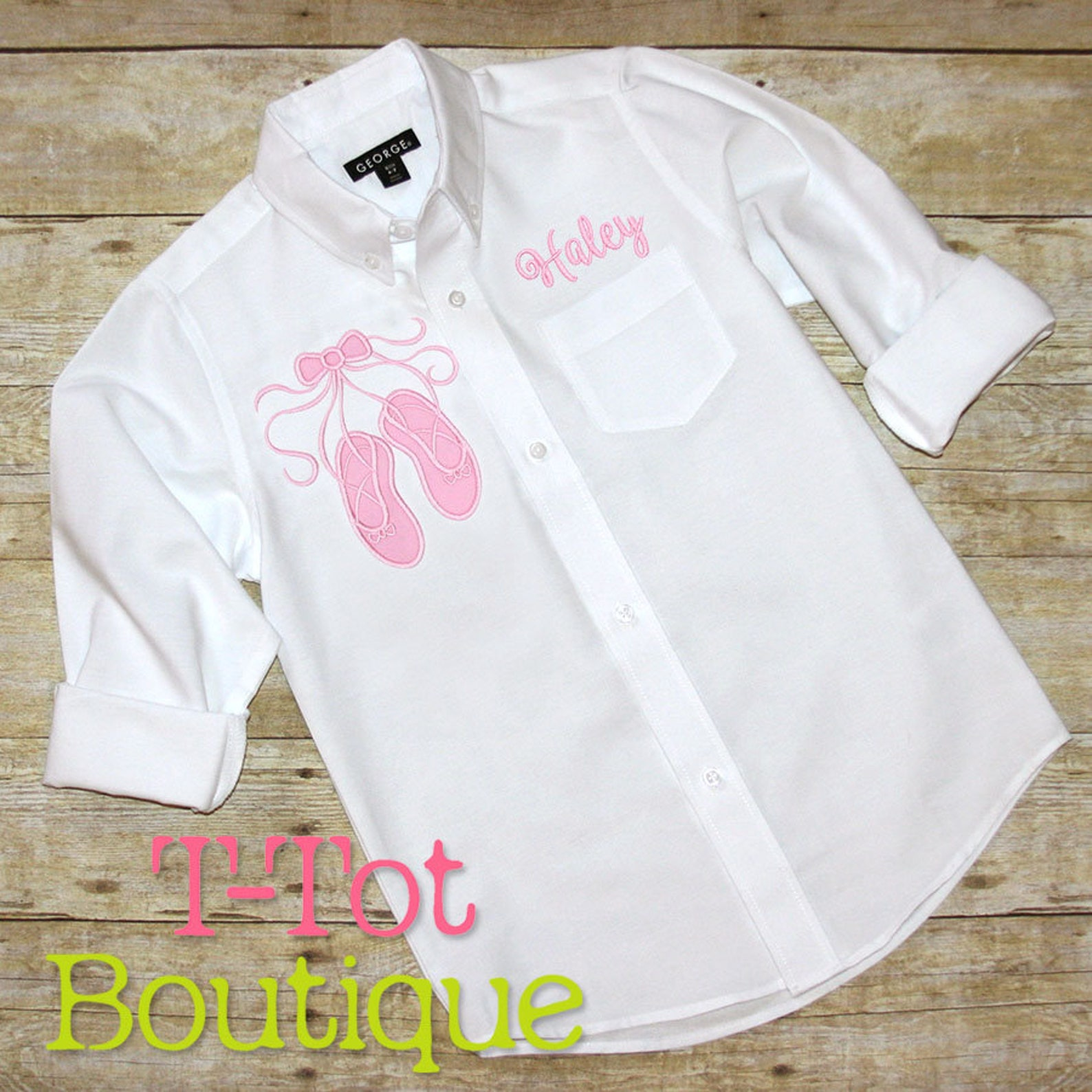 dance recital cover up oversized monogram button up shirt - ballet shoes - dance revue review gift pointe shoes slippers over si