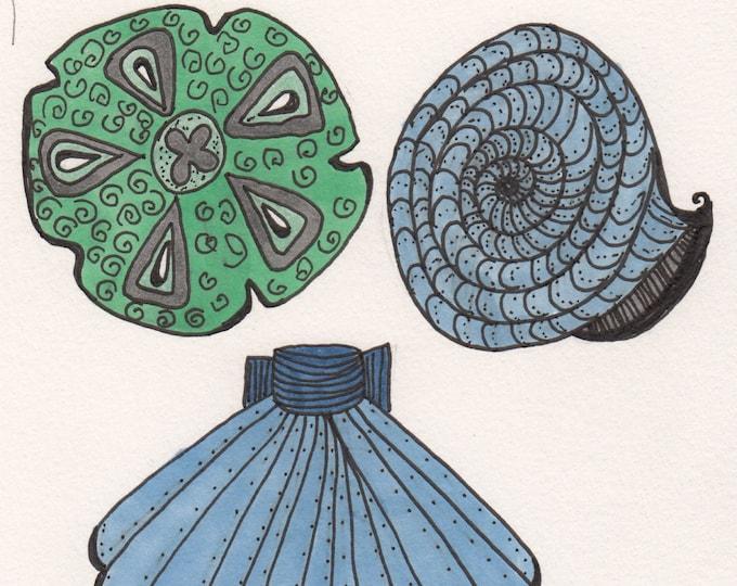 Green Sea Shells Cards