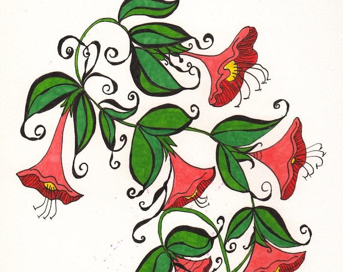 The Zen Doodle Trumpet Flower Cards