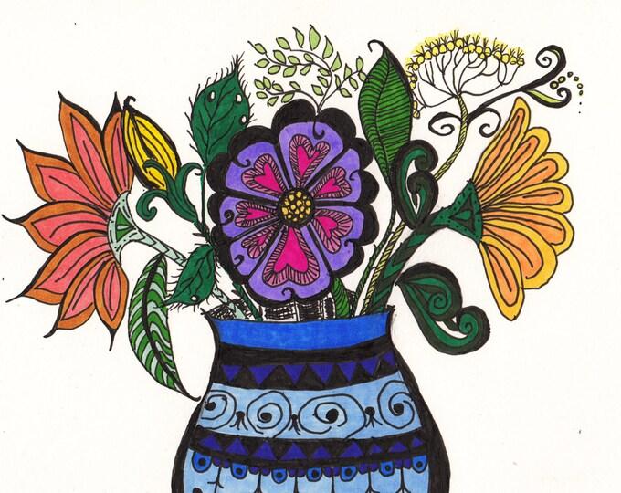 The Zen Doodle Blue VaseCards