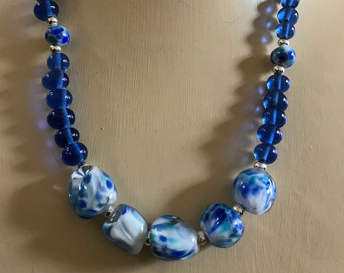 Blue and Silver Flame Work Necklace