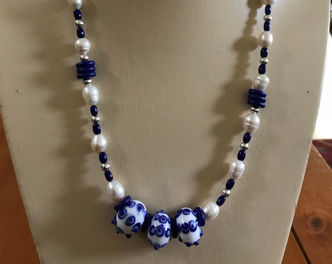 Delft Blues and Pearls Necklace