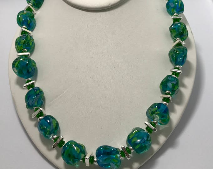 Greens and Blues Flamework Necklace