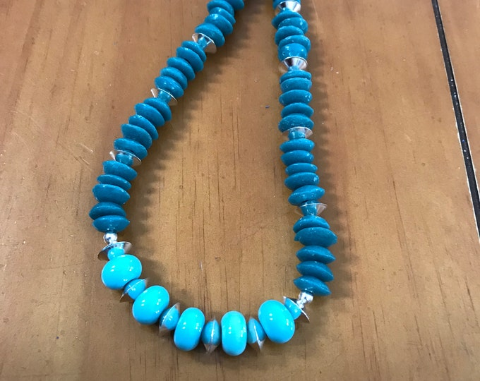Teal and Sky Blue Necklace
