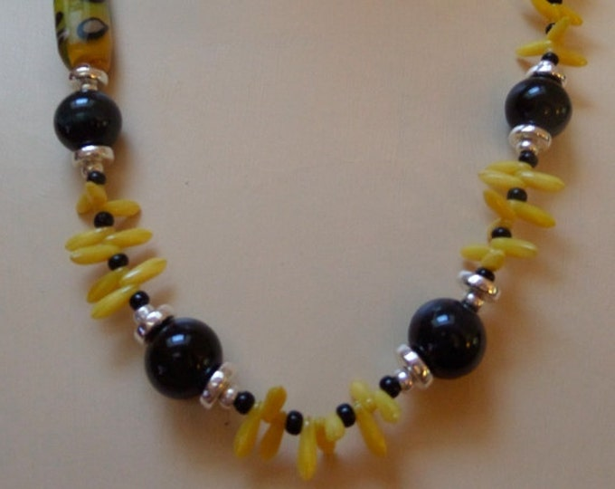 Autumn Yellow Flame work, Czech Glass Dagger and Blue Tiger Eye Necklace