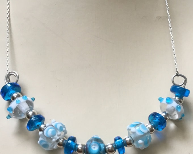 Bluesy Flame Work Necklace