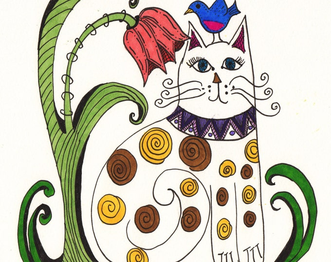 Cat and Blue Bird Cards
