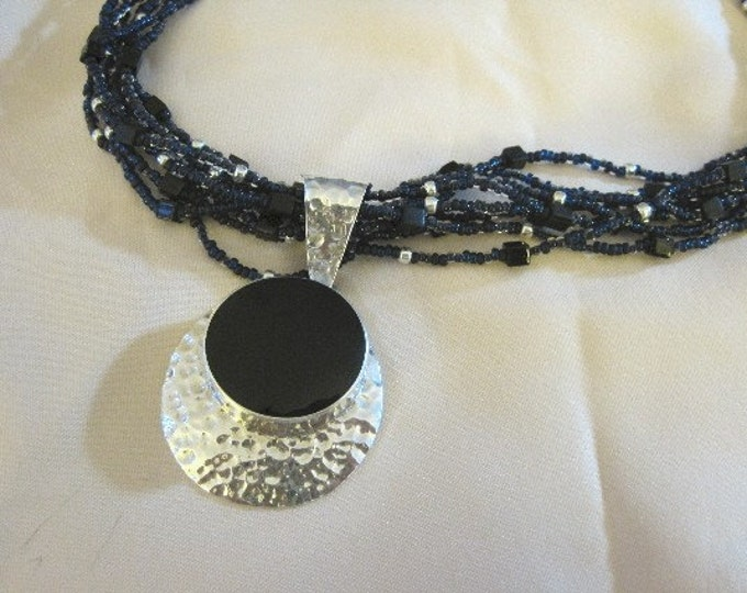 Onyx Pendant on Multi-strand Necklace