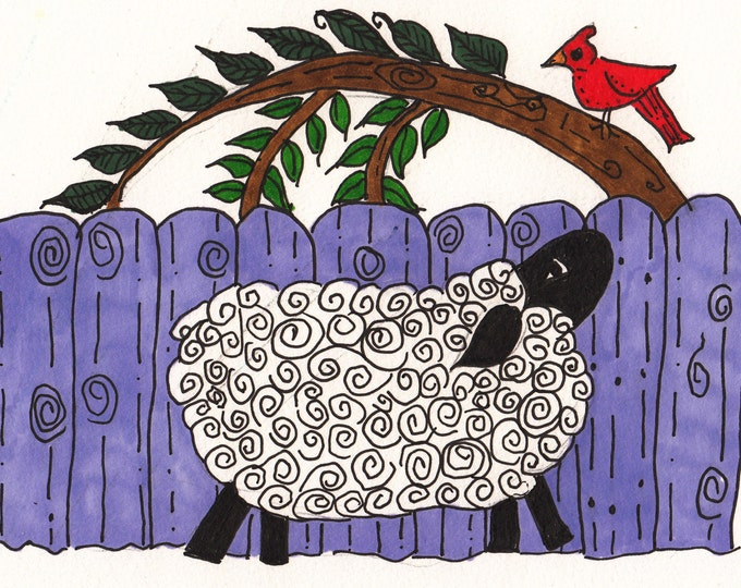 Sheep and Cardinal Cards