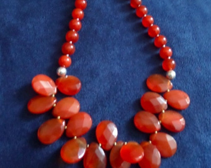 Carnelian and Sterling Silver Bead Necklace