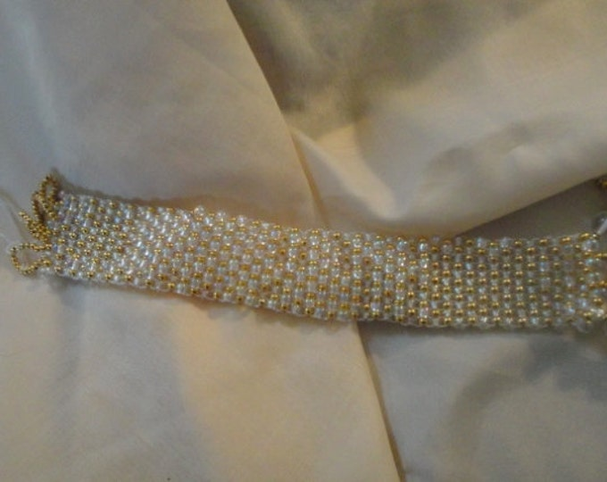 Square Stitch Cuff Bracelet with Clear Glass Drops and Gold Seed Beads