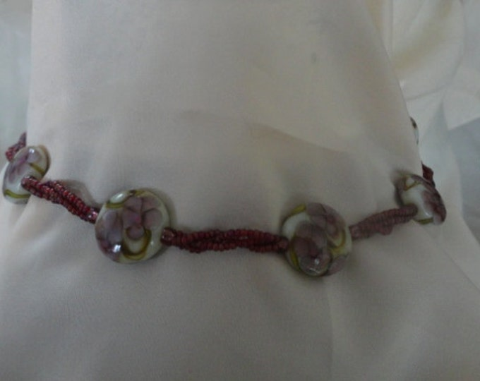 Violets Lampwork Bead Necklace