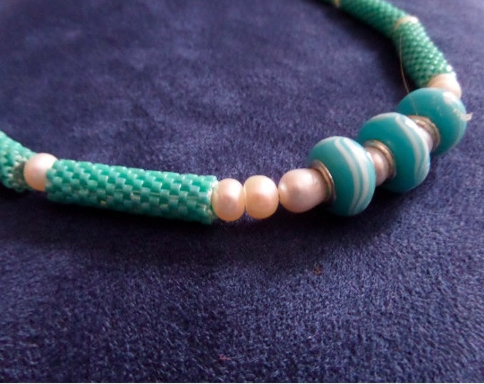 Sea Blue Murano Beads with Tubular Peyote and Pearl Necklace