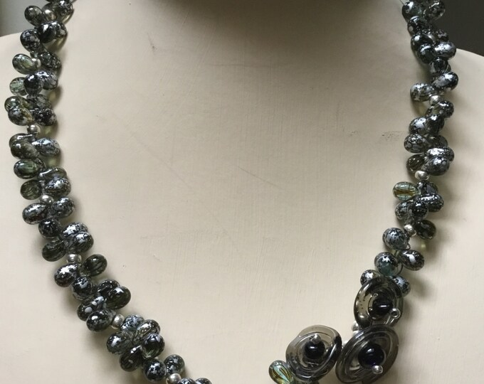 Statement Necklace in Black and Silver Czech Glass Beads