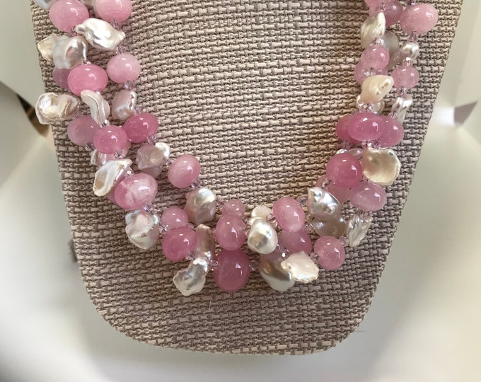 Pearly Pink Multi-Strand Neclace