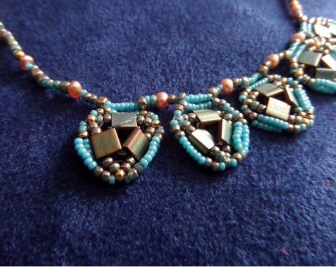 Delica Seed Beads in Turquoise and Gold Necklace