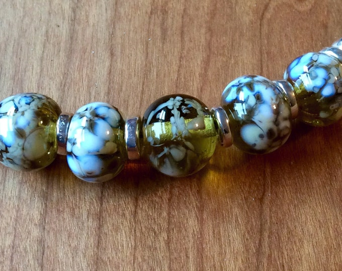 Statement Necklace Artisan Cream Flame Work Beads