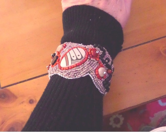 Bead Embroidered Cuff Bracelet featuring Mata Otiz Pottery Shard