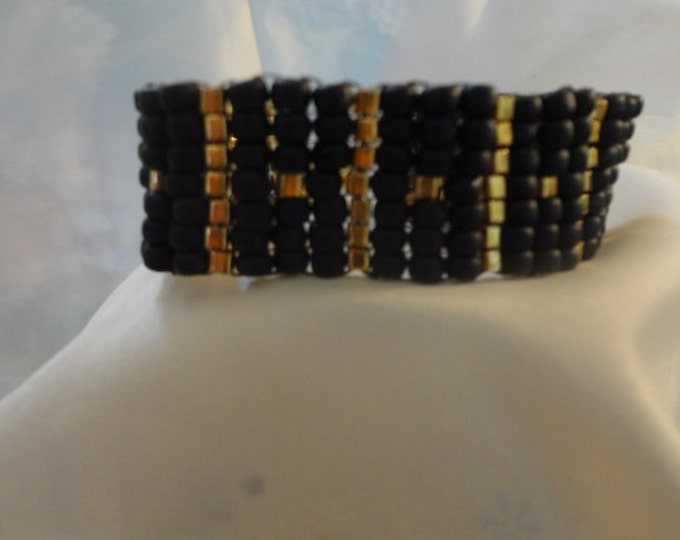 Black and Gold Square Stitch Beaded Cuff Bracelet