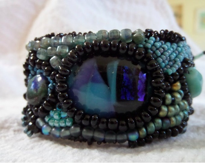 Midnight At the Oasis Bead Embroidery Cuff