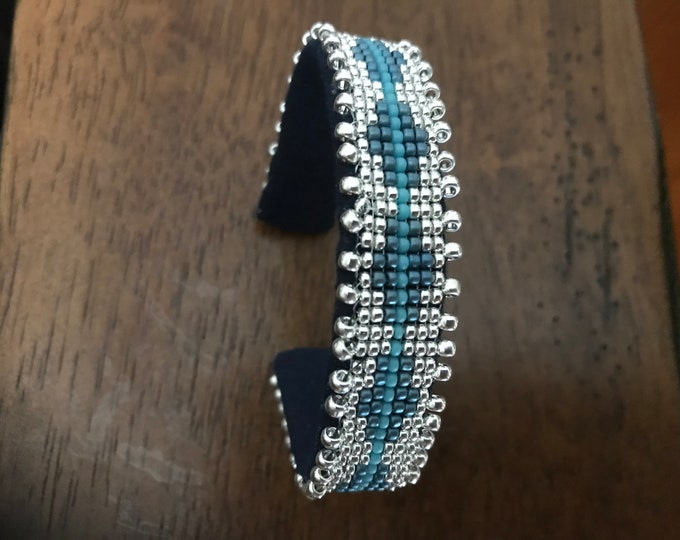 Silver and Blue Cuff Bracelet