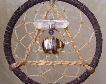 SERENITY BEAR - 3 Inch Dreamcatcher in Dark Brown and Purple by Feathered Dreams