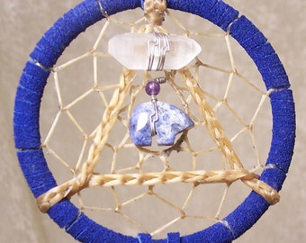 SERENITY BEAR - 3 Inch Dreamcatcher in Royal Blue and Purple by Feathered Dreams