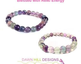 Rainbow Fluorite Bracelet Yoga Bracelet Mala Bracelet Reiki Bracelet Crystal Healing Bracelet Energy Bracelet Gemstone Bracelet Mens Jewelry