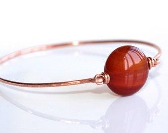 Red Agate Bangle Bracelet * Thin Bracelet * Stone Bangle * Stone Bracelet * Stackable Bracelet * Stacking Bangle* Agate Jewelry.*Iffy Alibi*