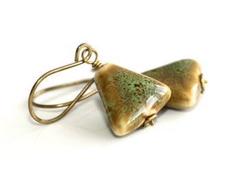 Ceramic Earrings * Green Earrings * Ceramic Jewelry * Geometric Earrings * Triangle Earrings * Triangular Earrings............'Stolen Pride'
