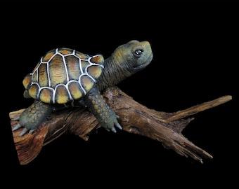 Japanese Pond Turtle - Handmade Miniature Gourd Sculpture