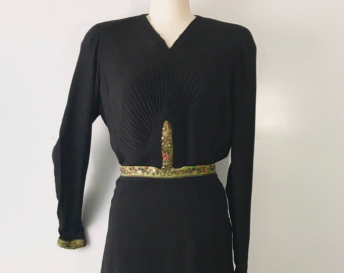 40s beaded crepe black dress / vintage old Hollywood sash waist DRESS early 1940s