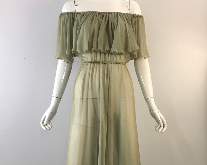 70s SCOTT BARRIE palest green silk chiffon airy off shoulder Studio 54 ruffle GOWN dress 1970s vintage