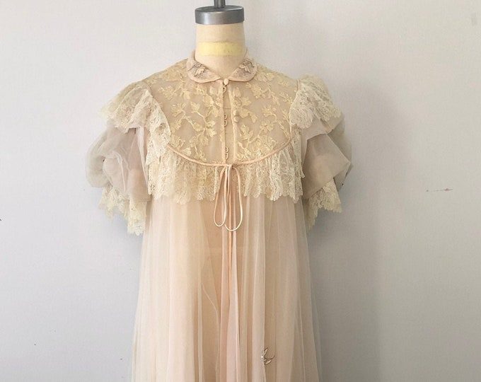 50s LUCIE ANN soft pink diaphanous SEQUIN puff sleeve peignoir robe vintage 1950s as is