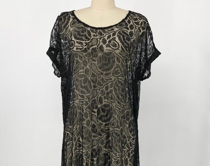 20s ROSE LACE black sheer fringe hem art deco flapper DRESS vintage antique 1920s