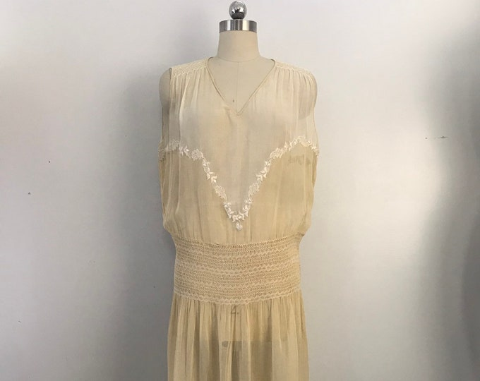 20s HUNGARIAN embroidered & smocked ivory cotton flapper DRESS 1920s vintage