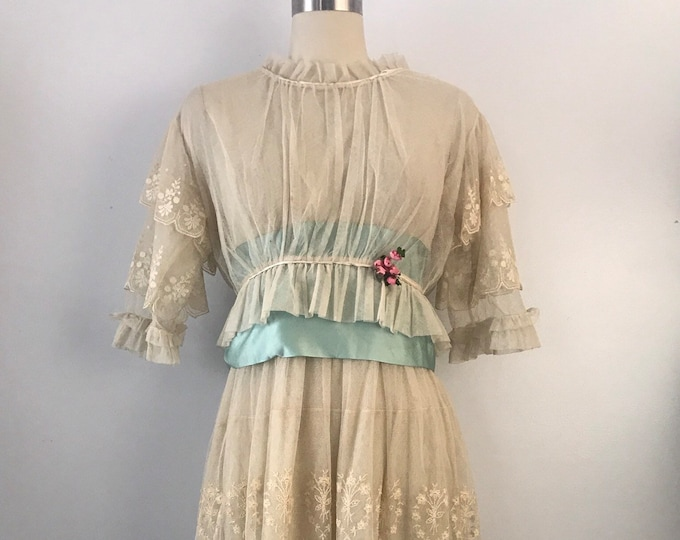 Layaway  do not purchase : 1900s EDWARDIAN English netting ribbon trim embroidered floral garland TEA DRESS vintage 1910s