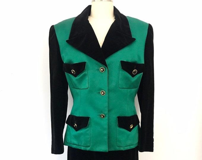 80s emerald CHANEL silk velvet clover button evening skirt SUIT vintage 1980s 6